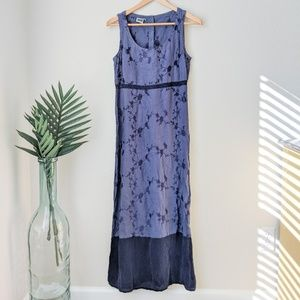 Vintage Johnny Was Embroidered Linen Maxi Dress